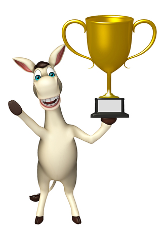 cuteness: 3d rendered illustration of Donkey cartoon character with winning cup