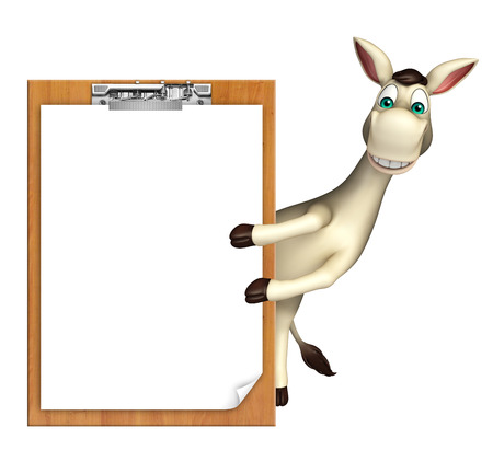 cuteness: 3d rendered illustration of Donkey cartoon character with exam pad