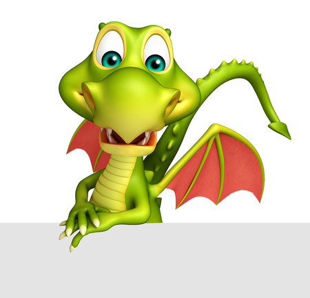 3d dragon: 3d rendered illustration of Dragon cartoon character with white board Stock Photo