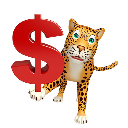non cash: 3d rendered illustration of Leopard cartoon character with dollar sign