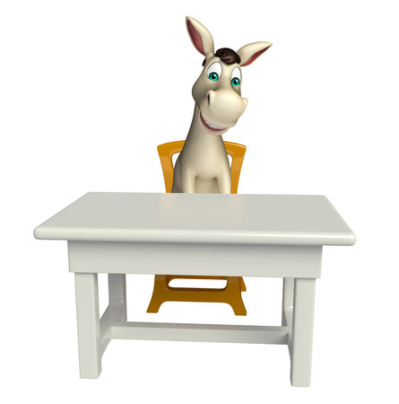 cuteness: 3d rendered illustration of Donkey cartoon character with table and chair