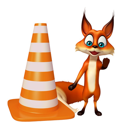 zoo traffic: 3d rendered illustration of Fox cartoon character with construction cone