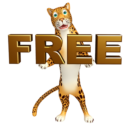 veg: 3d rendered illustration of Leopard cartoon character with free sign