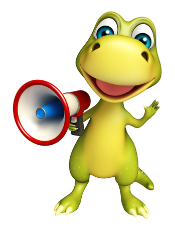 call history: 3d rendered illustration of Dinosaur cartoon character with loudspeaker