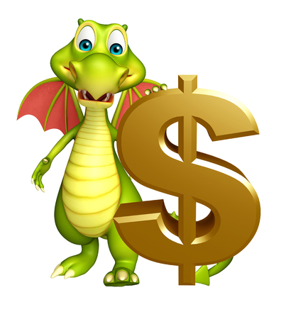 ドル記号とドラゴンの漫画のキャラクターの 3 d レンダリングされたイラストレーション