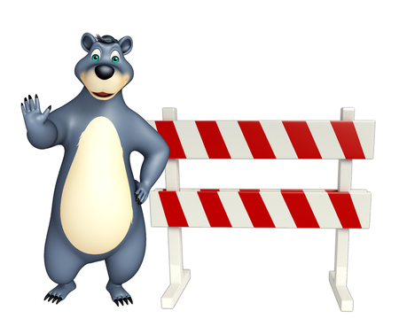 constuction: 3d rendered illustration of Bear cartoon character with baracades
