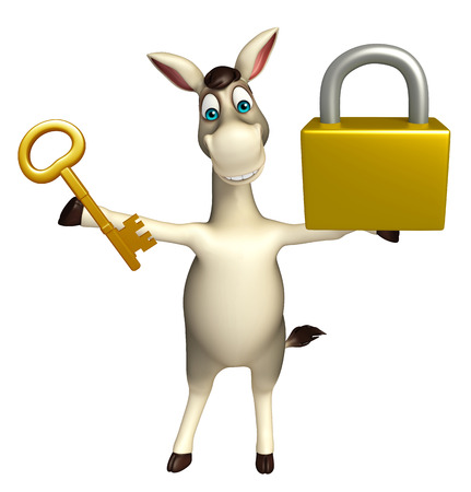 cuteness: 3d rendered illustration of Donkey cartoon character with lock and key