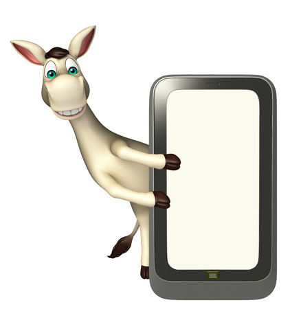 cuteness: 3d rendered illustration of Donkey cartoon character  with mobile