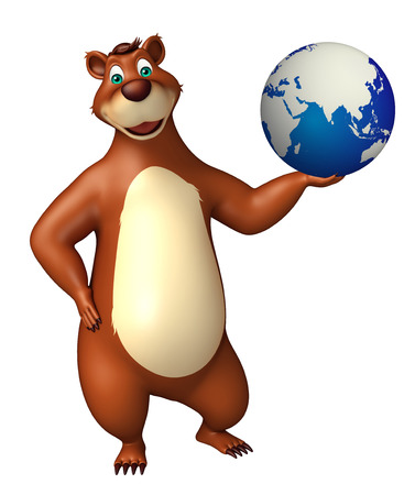 plushy: 3d rendered illustration of Bear cartoon character with earth