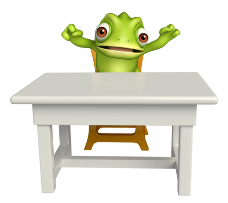 tabletop: 3d rendered illustration of Chameleon cartoon character with table and chair