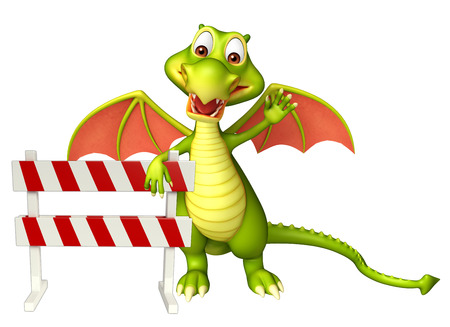 constuction: 3d rendered illustration of Dragon cartoon character with baracade