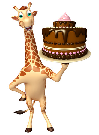 tall grass: 3d rendered illustration of Giraffe cartoon character  with cake