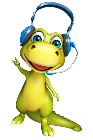 3d rendered illustration of Dinosaur cartoon character with head phone Stock Photo