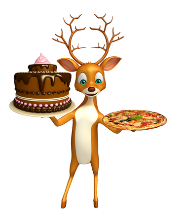 3d rendered illustration of Deer cartoon character with cake and pizza Stock Photo