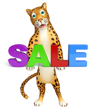 non stock: 3d rendered illustration of Leopard cartoon character with sale sign