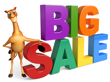 zoo dry: 3d rendered illustration of Camel cartoon character with big sale sign Stock Photo