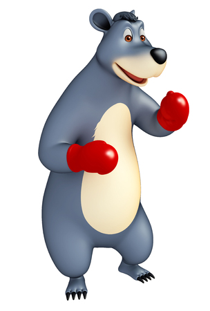 3d rendered illustration of Bear cartoon character with boxing glubs Stock Photo