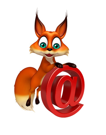 3d rendered illustration of Fox cartoon character with at the rate sign