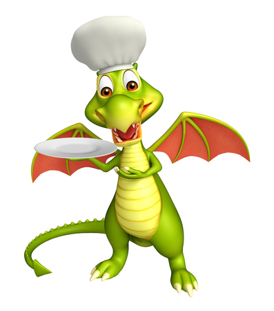 dinner plate: 3d rendered illustration of Dragon cartoon character with dinner plate and chef hat