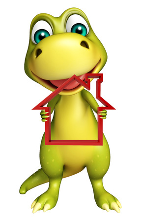 monsters house: 3d rendered illustration of Dinosaur cartoon character with home sign Stock Photo
