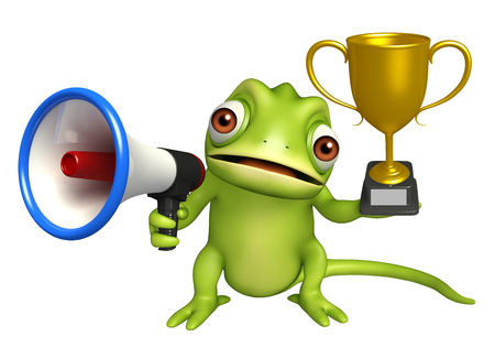 3d rendered illustration of Chameleon cartoon character with  loudspeaker and winning cup