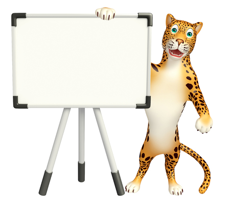 display board: 3d rendered illustration of Leopard cartoon character with display board