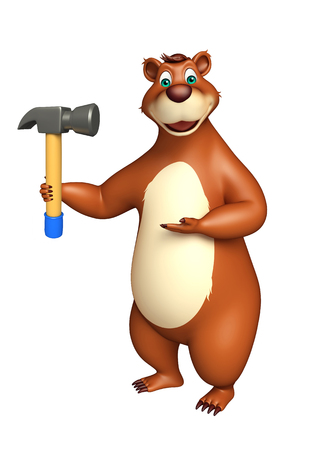 plushy: 3d rendered illustration of Bear cartoon character with hammer
