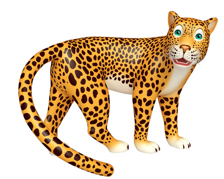 veg: 3d rendered illustration of look at camera Leopard cartoon character