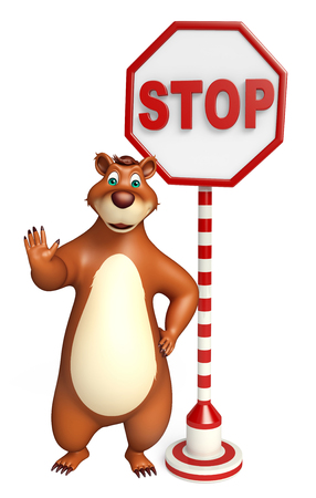 drive ticket: 3d rendered illustration of Bear cartoon character with stop board