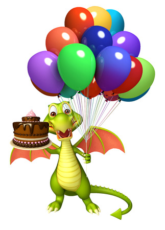 3d rendered illustration of Dragon cartoon character with cake  and balloon