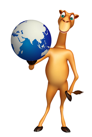 zoo dry: 3d rendered illustration of Camel cartoon character with earth Stock Photo