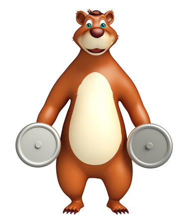 plushy: 3d rendered illustration of Bear cartoon character with gym equipment