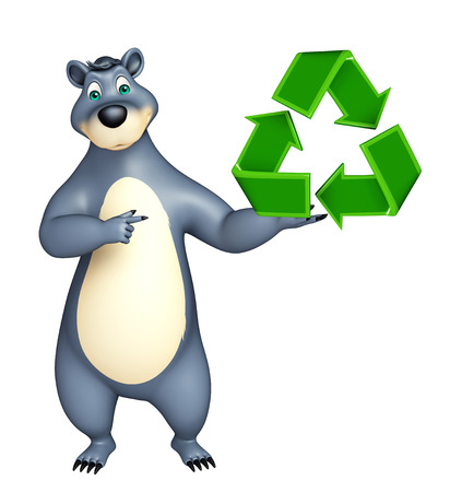 plushy: 3d rendered illustration of Bear cartoon character with recycle sign