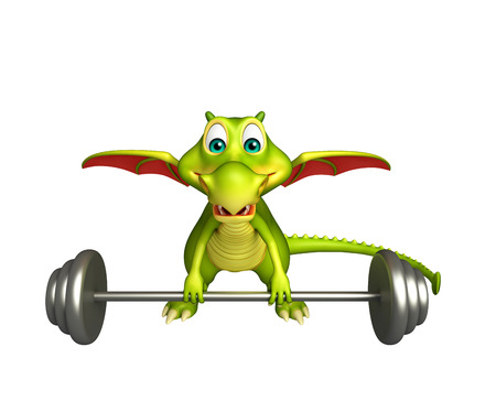 3d dragon: 3d rendered illustration of Dragon cartoon character with Gym equipment