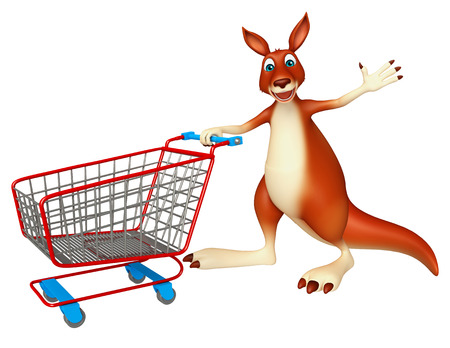 trolly: 3d rendered illustration of Kangaroo cartoon character with trolly Stock Photo
