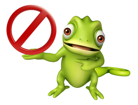 traffic ticket: 3d rendered illustration of Chameleon cartoon character with stop sign