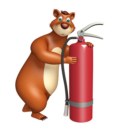 gas tank: 3d rendered illustration of Bear cartoon character with gas tank