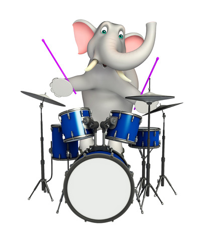 3d rendered illustration of Elephant cartoon character with drum Stock Photo