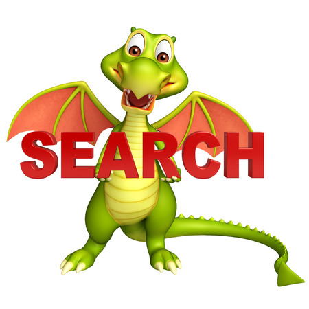 3d dragon: 3d rendered illustration of Dragon cartoon character with search sign