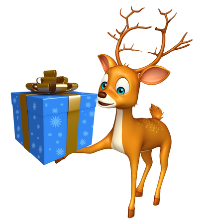 3d rendered illustration of Deer cartoon character with gift box
