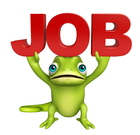 job hunting: 3d rendered illustration of Chameleon cartoon character with job sign Stock Photo