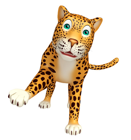 veg: 3d rendered illustration of hold Leopard cartoon character