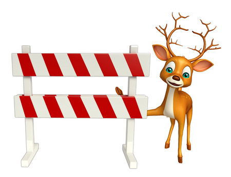 constuction: 3d rendered illustration of Deer cartoon character with baracades Stock Photo