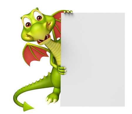 notice: 3d rendered illustration of Dragon cartoon character with white board Stock Photo