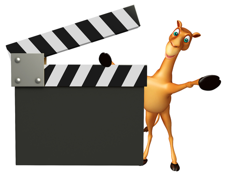 zoo dry: 3d rendered illustration of Camel cartoon character with clapper board
