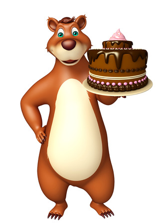 plushy: 3d rendered illustration of Bear cartoon character with cake