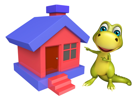 monsters house: 3d rendered illustration of Dinosaur cartoon character with home