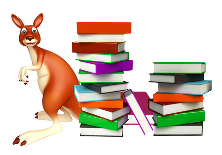 library book: 3d rendered illustration of Kangaroo cartoon character  with book