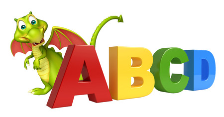 abcd: 3d rendered illustration of Dragon cartoon character with ABCD sign Stock Photo