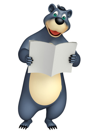 broadsheet: 3d rendered illustration of Bear cartoon character with news paper